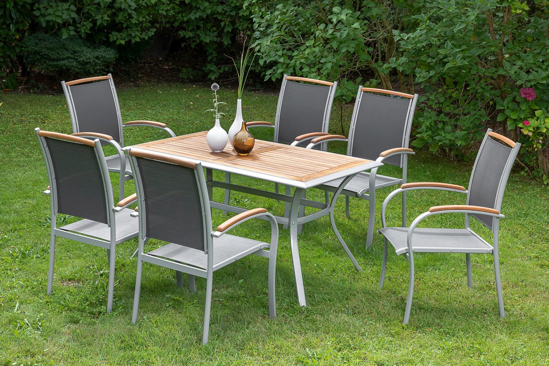 MERXX Diningset Siena 7-tlg 6 Sessel 1 Tisch 140x80 cm Aluminium