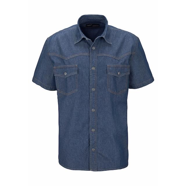 Arizona Jeanshemd Hemden Herren Kurzarm Freizeithemden