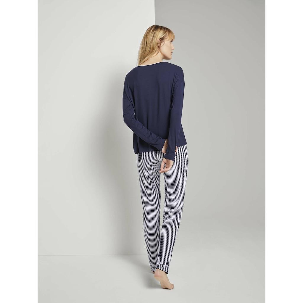TOM TAILOR Langarmshirt »Langes Pyjama Set mit Streifenhose«