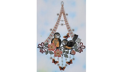 Stickereien Plauen Fensterbild »Vögel mit Schmetterling« kaufen