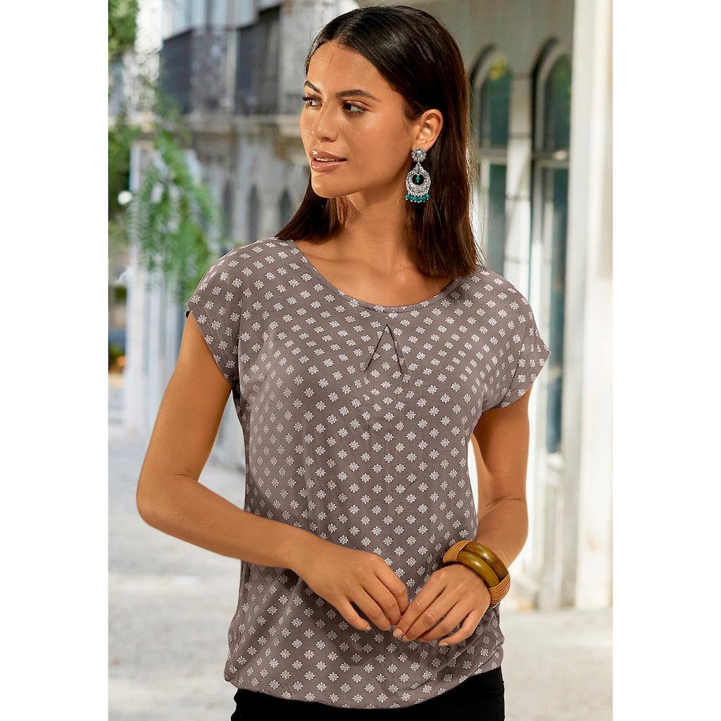 LASCANA Carmenshirt, mit Kellerfalte am Ausschnitt