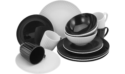 CreaTable Kombiservice »Allegra Black & White«, (Set, 16 tlg.), aktuelles Trend-Design... kaufen
