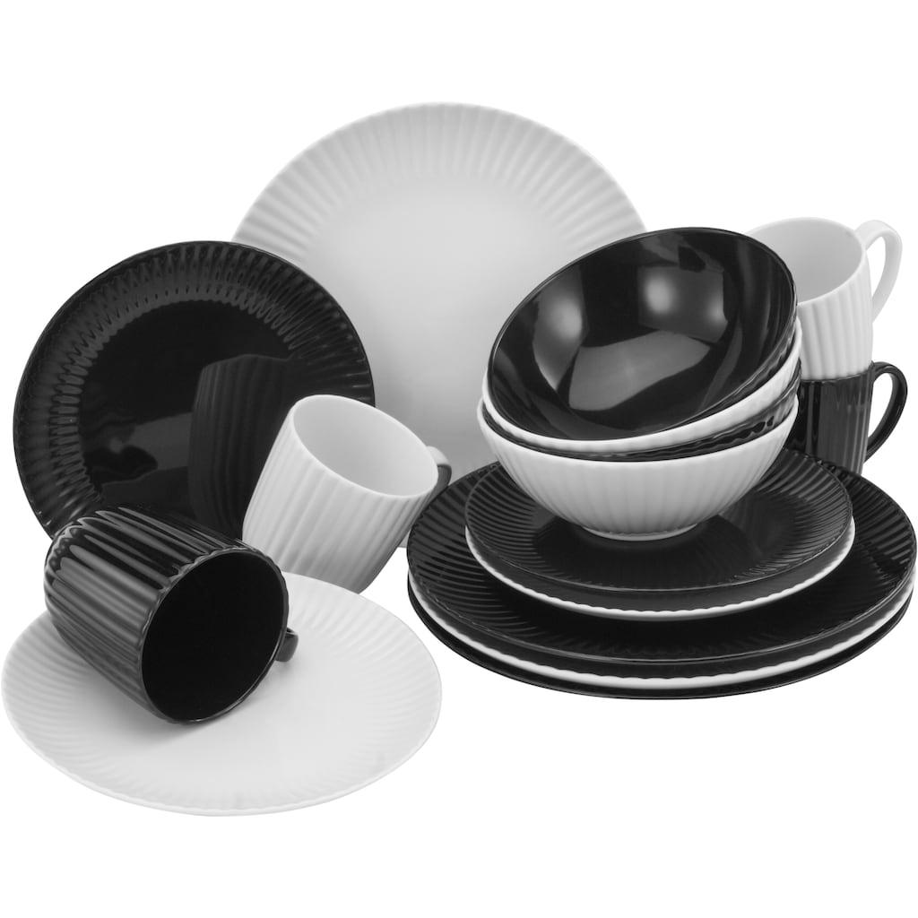 CreaTable Kombiservice »Allegra Black & White«, (Set, 16 tlg.), aktuelles Trend-Design in Schwarz/Weiß