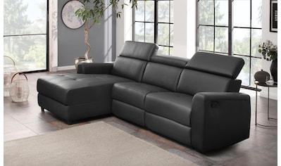 Home affaire Ecksofa »Sentrano«, wählbar zwischen manueller oder elektrischer Relaxfunktion mit USB-Anschluß, in 4 Bezugsvarianten, auch in NaturLEDER kaufen