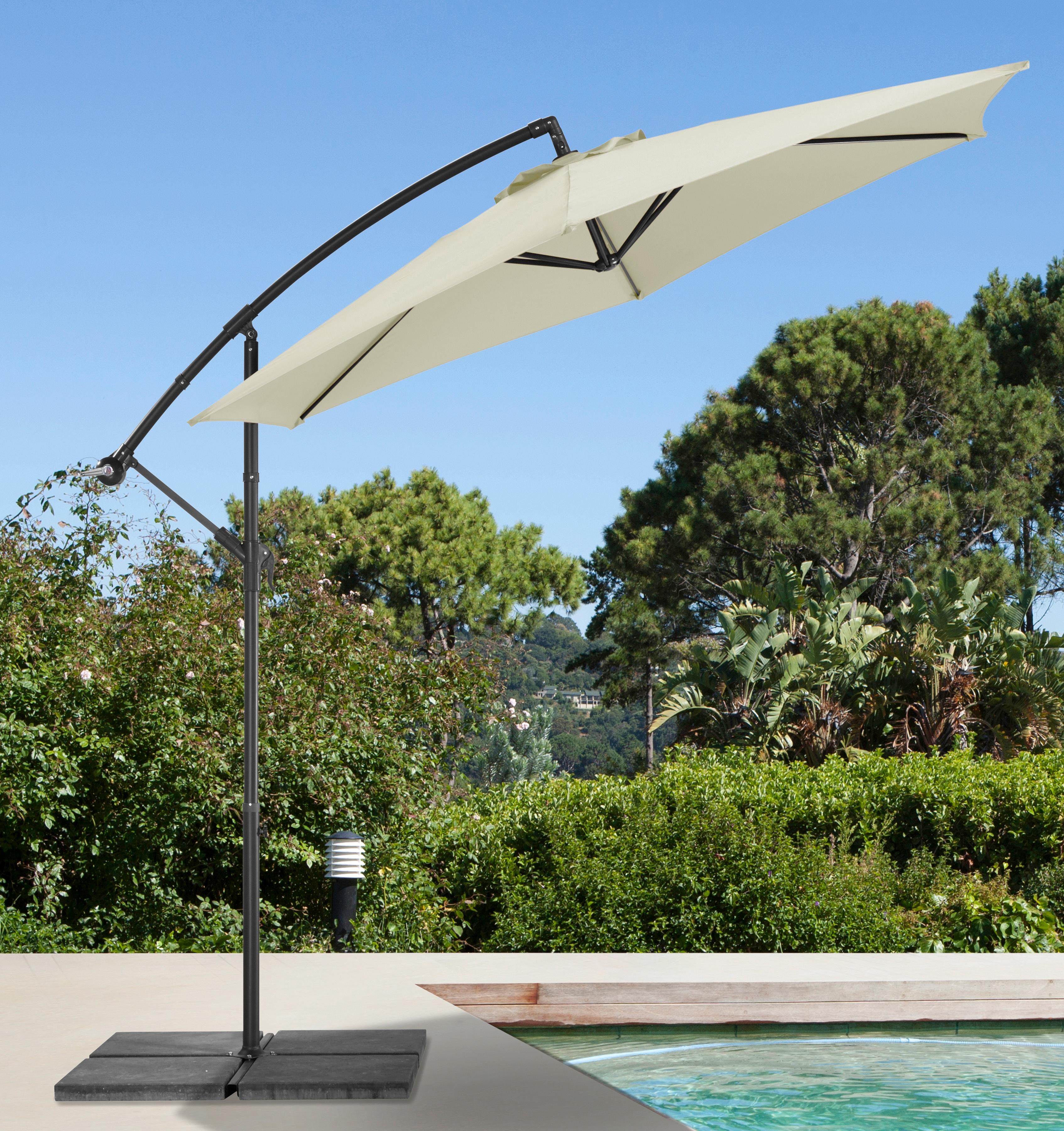 garten gut Ampelschirm Sunshine, abknickbar, mit Schirmstände beige Sonnenschirme -segel Gartenmöbel Gartendeko