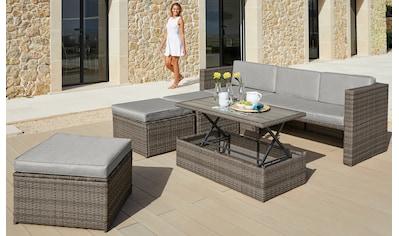 KONIFERA Loungeset »Lagos Premium«, 13 - tlg., 3er - Sofa, 3 Hocker, Tisch, Polyrattan kaufen