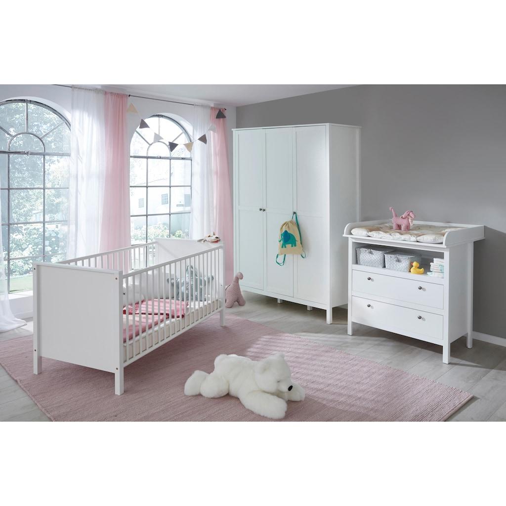 Babyzimmer-Komplettset »Westerland«, (Set, 3 St.), Bett + Wickelkommode + 3 trg. Schrank