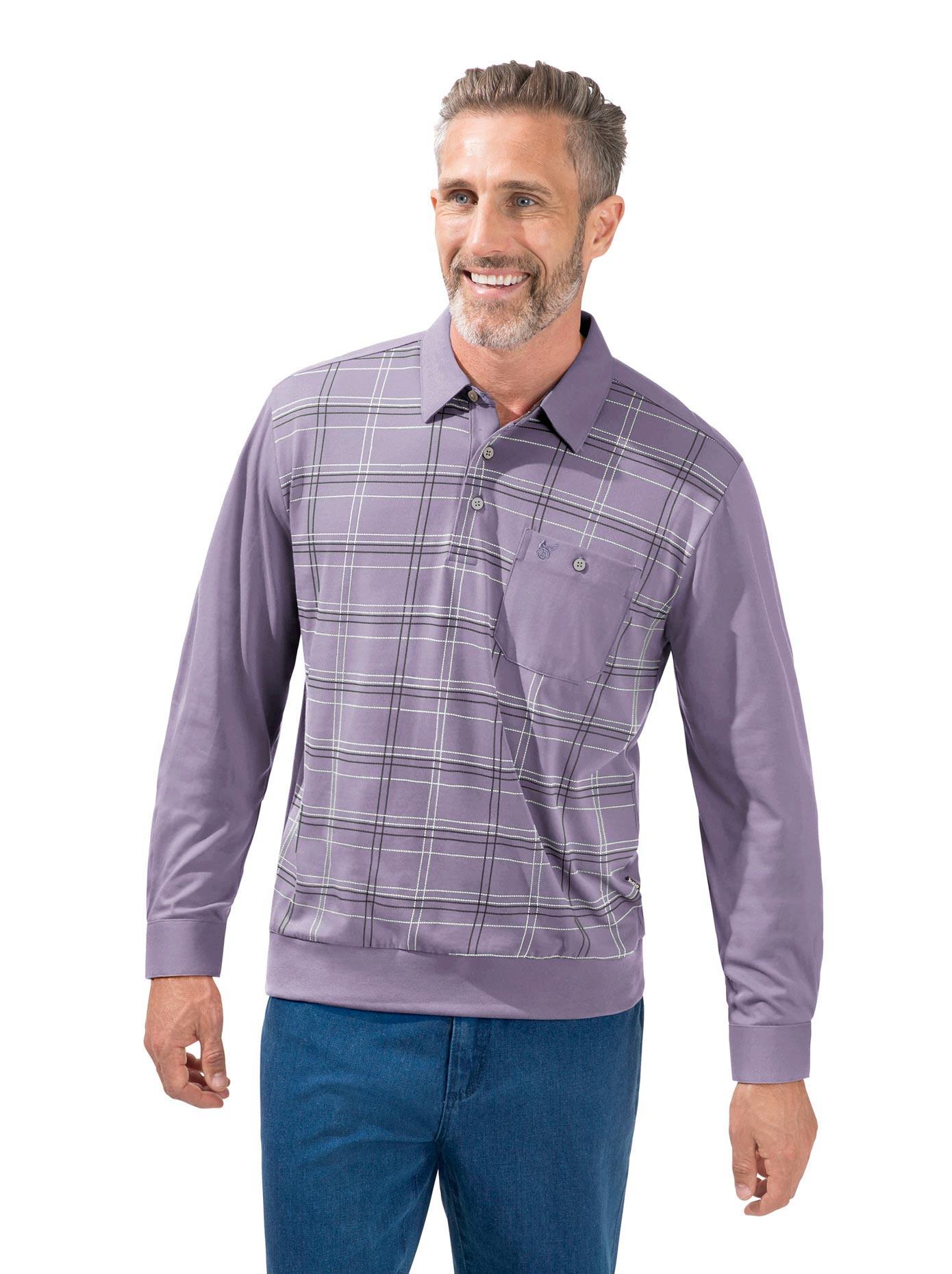 Hajo Langarm-Poloshirt lila Herren Langarm Shirts Poloshirts