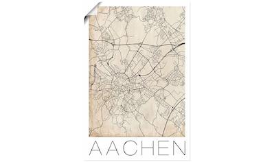 Artland Wandbild »Retro Karte Aachen Deutschland Grunge«, Deutschland, (1 St.), in vielen Größen & Produktarten - Alubild / Outdoorbild für den Außenbereich, Leinwandbild, Poster, Wandaufkleber / Wandtattoo auch für Badezimmer geeignet kaufen