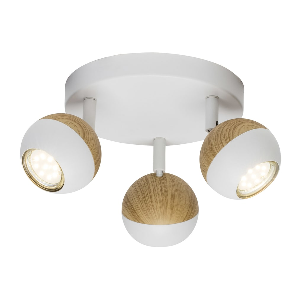 Brilliant Leuchten Scan LED Spotrondell 3flg weiß/holz hell