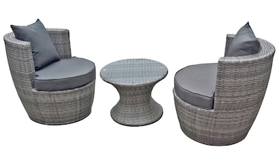 Set: Gartenmöbelset 3 - tlg., 2 Sessel, Tisch Ø 58 cm, Polyrattan kaufen