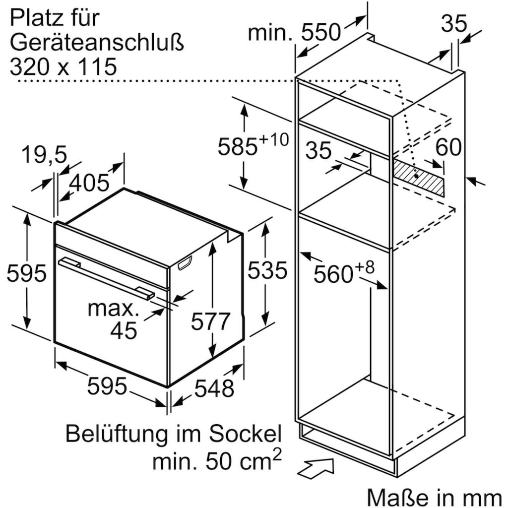BOSCH Pyrolyse Backofen »HMG6764B1«, HMG6764B1, mit 1-fach-Teleskopauszug, Pyrolyse-Selbstreinigung