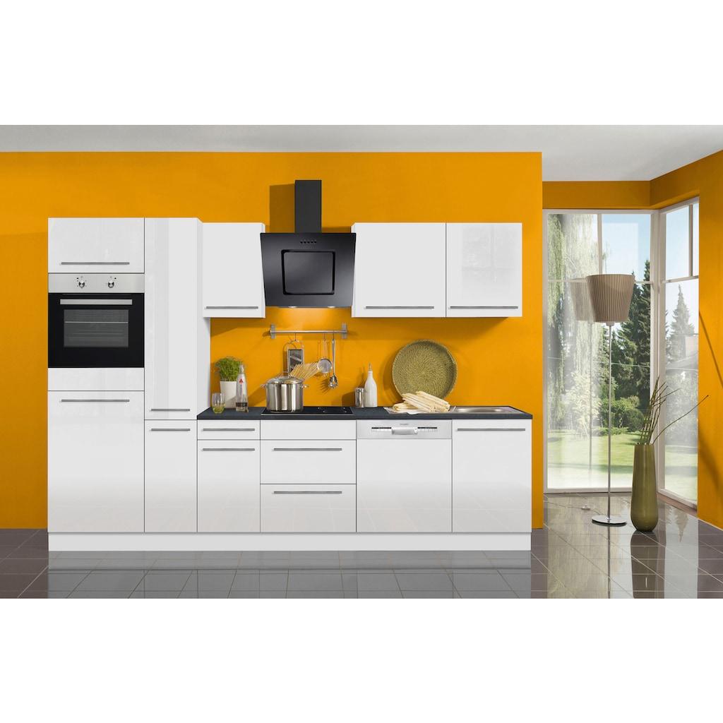 OPTIFIT Küchenzeile »Bern«, mit E-Geräten, Breite 300 cm, mit höhenverstellbaren Füßen, gedämpfte Türen und Schubkästen, Metallgriffe