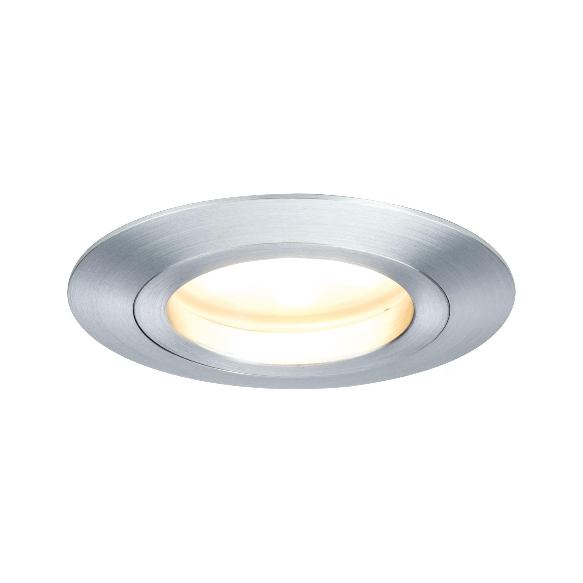 Paulmann LED Einbaustrahler Coin satiniert rund 7W Alu 3er-Set dimmbar, 3 St., Warmweiß