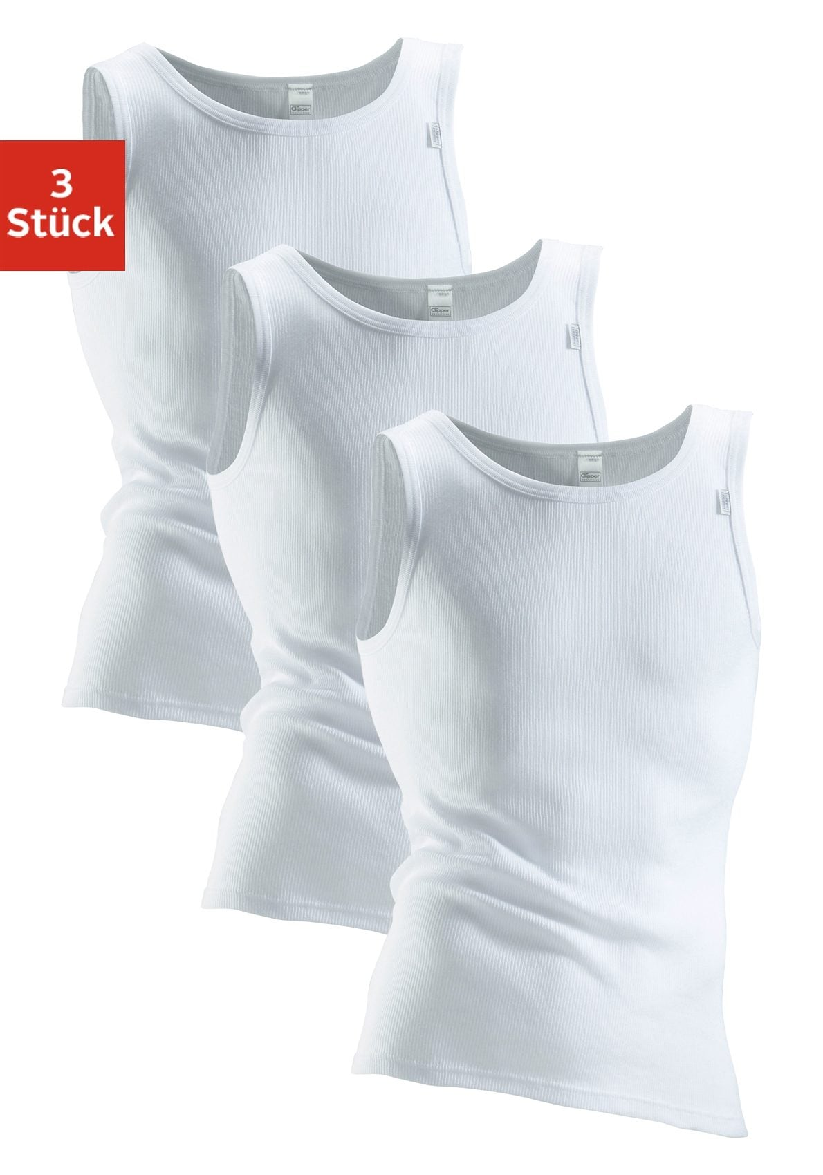 clipper exclusive - , Unterhemd in Doppel oder Feinripp Qualität (3 Stück), Mit Komfortschnitt, hinten etwas länger. Spürbar weich und glatt