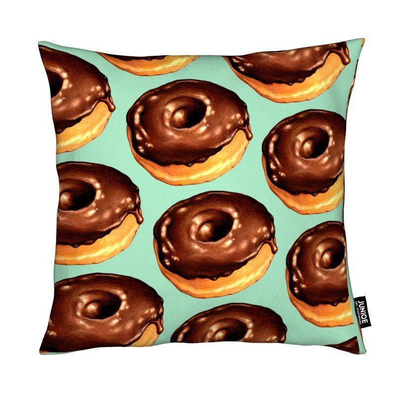 Dekokissen Chocolate Donut Pattern -Teal Juniqe