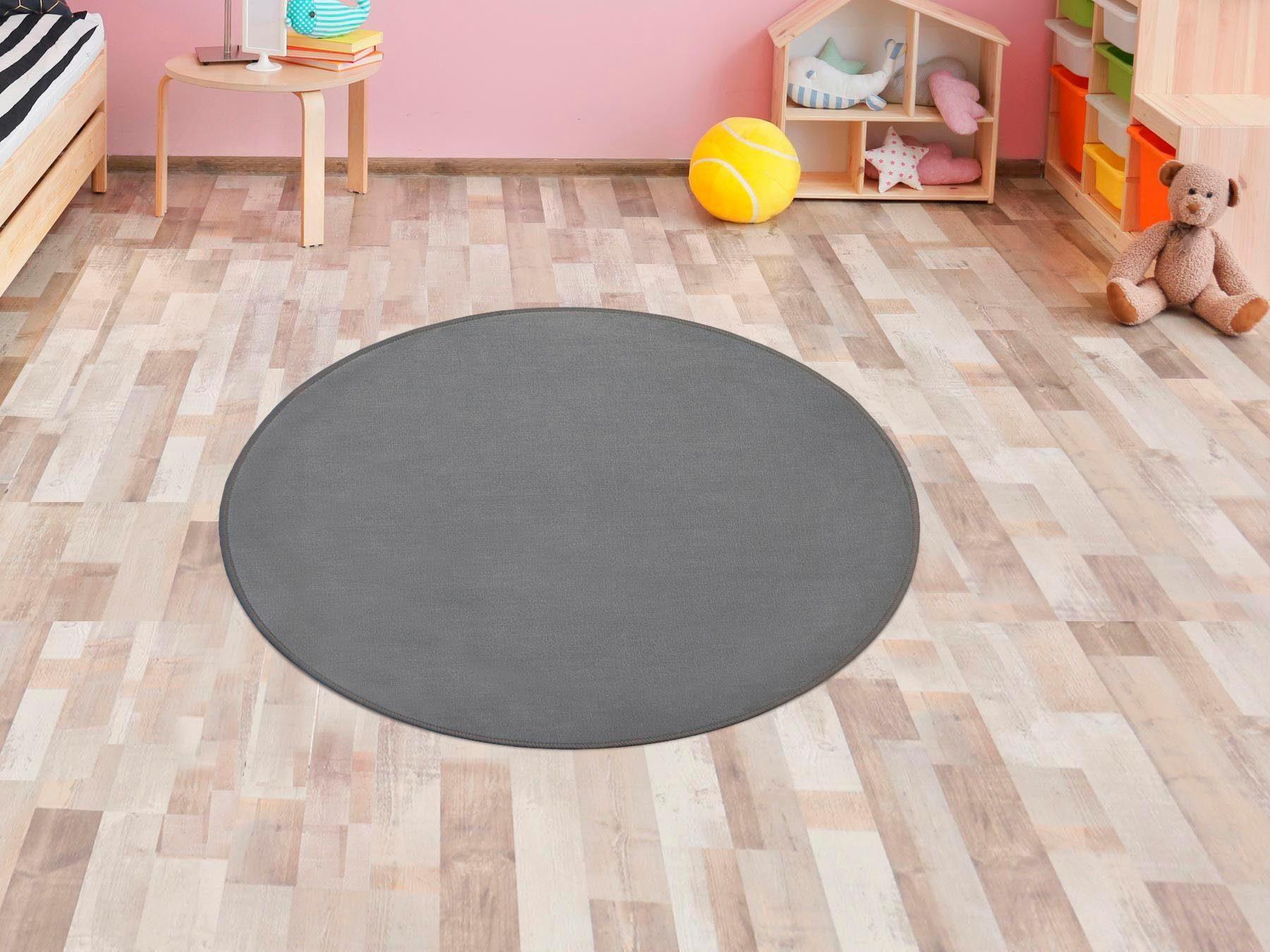 Primaflor-Ideen in Textil Kinderteppich SITZKREIS, rund, 5 mm Höhe, Spielteppich ideal im Kinderzimmer grau Kinder Spielteppiche Kinderteppiche Teppiche