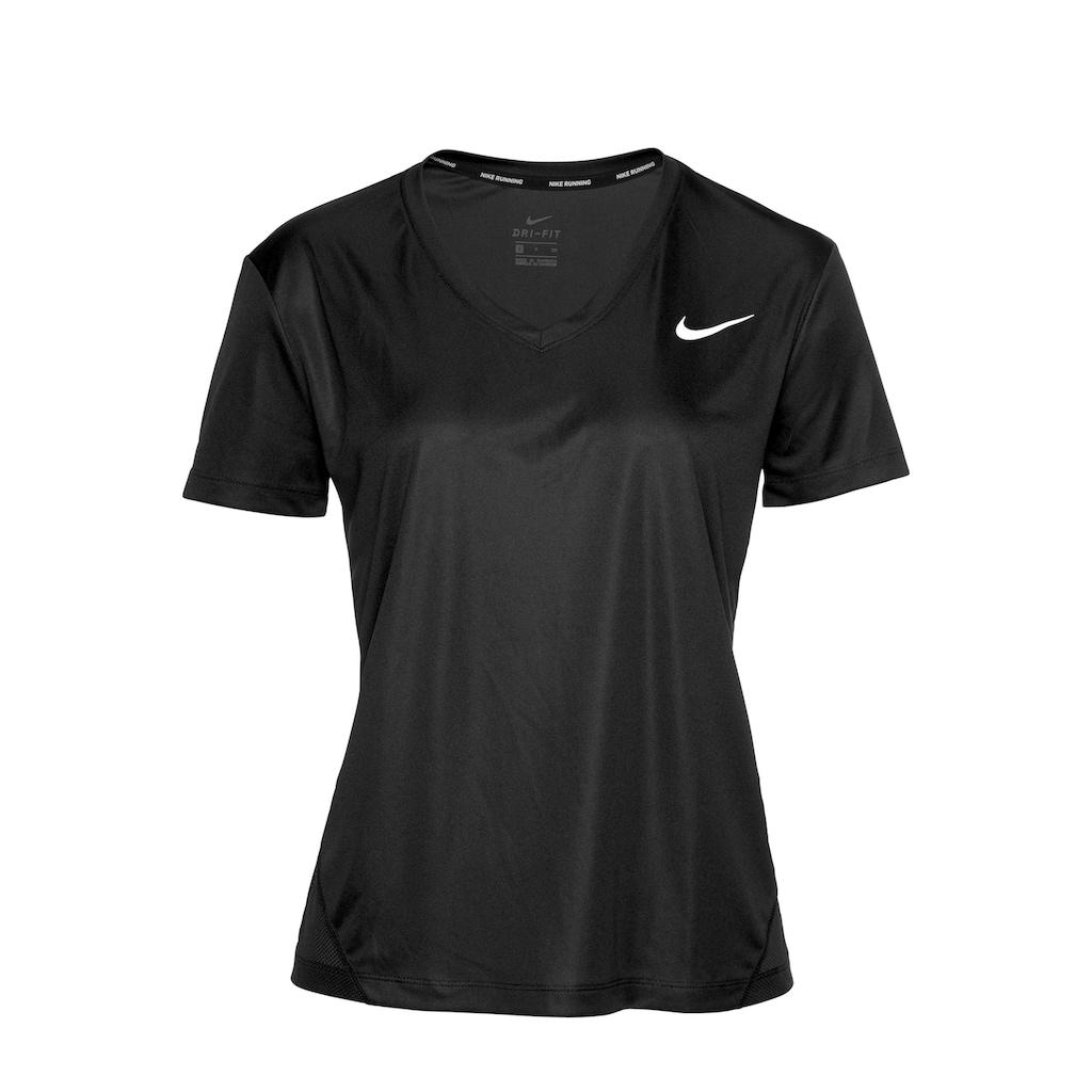 Nike Laufshirt »W NK MILER TOP VNECK«, Mesheinsatz
