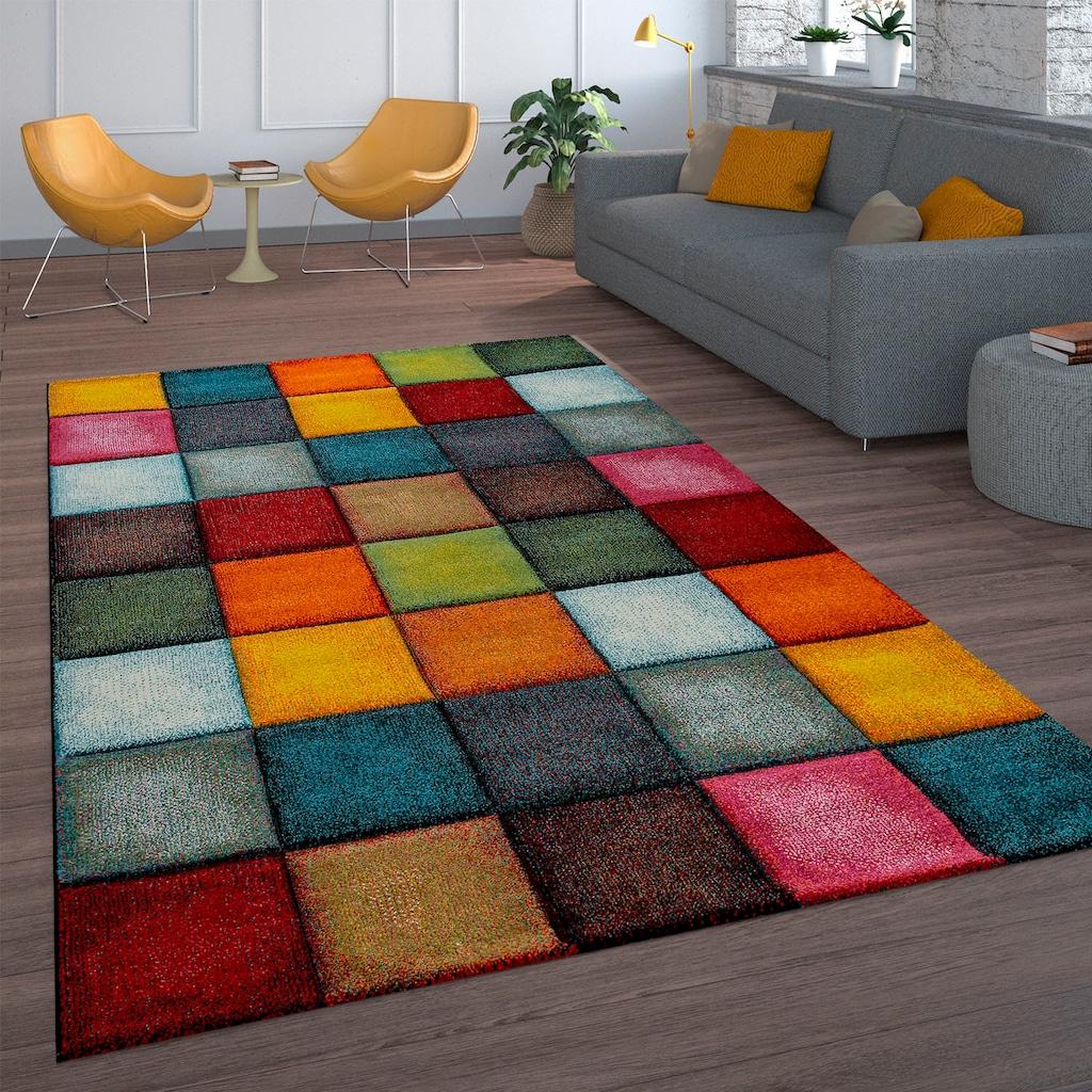 Paco Home Teppich »Smaragd 753«, rechteckig, 18 mm Höhe, 3D-Design, Kurzflor mit Karo Motiv, Wohnzimmer