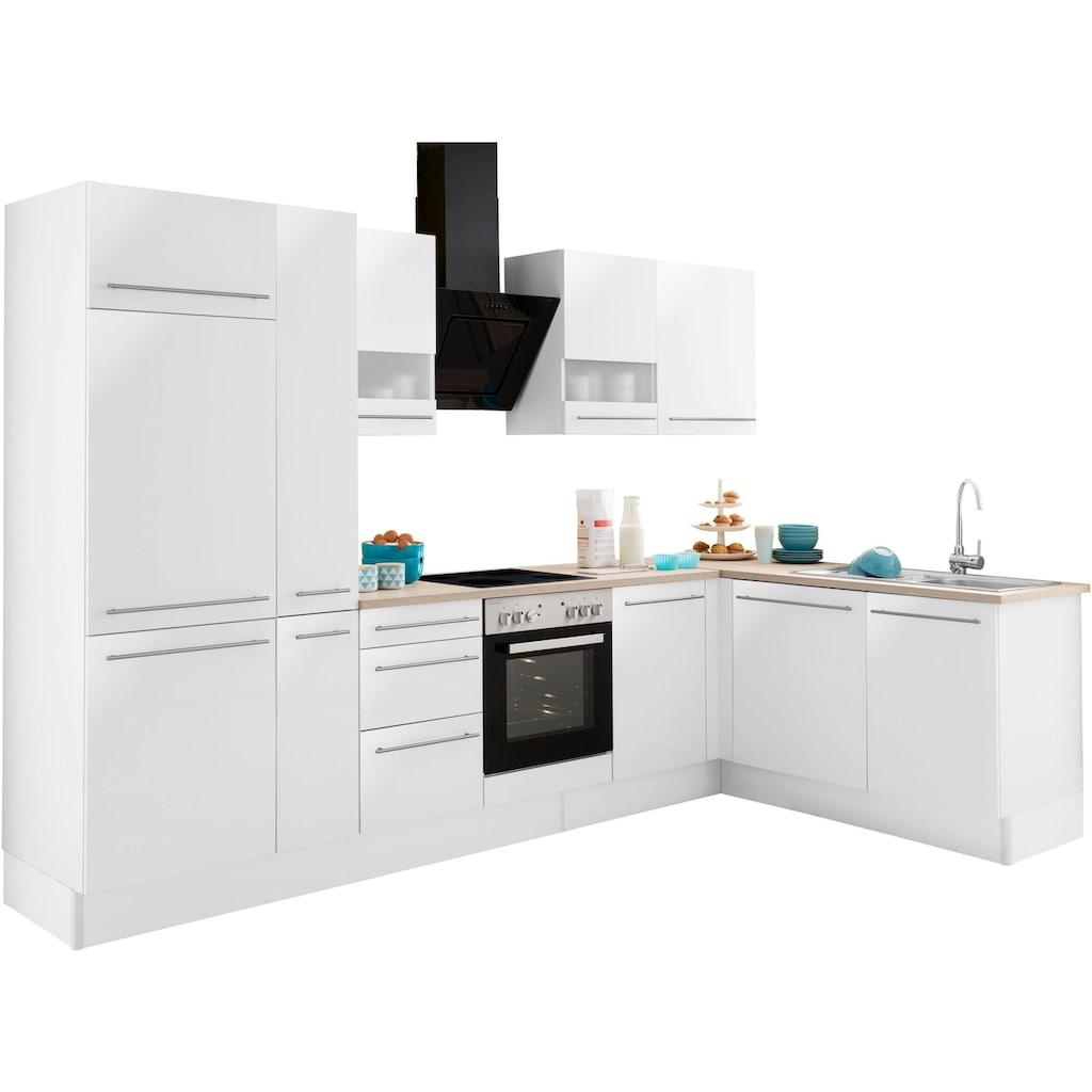 OPTIFIT Winkelküche »Bern«, ohne E-Geräte, Stellbreite 315 x 175 cm mit höhenverstellbaren Füßen, gedämpfte Türen und Schubkästen, Metallgriffe