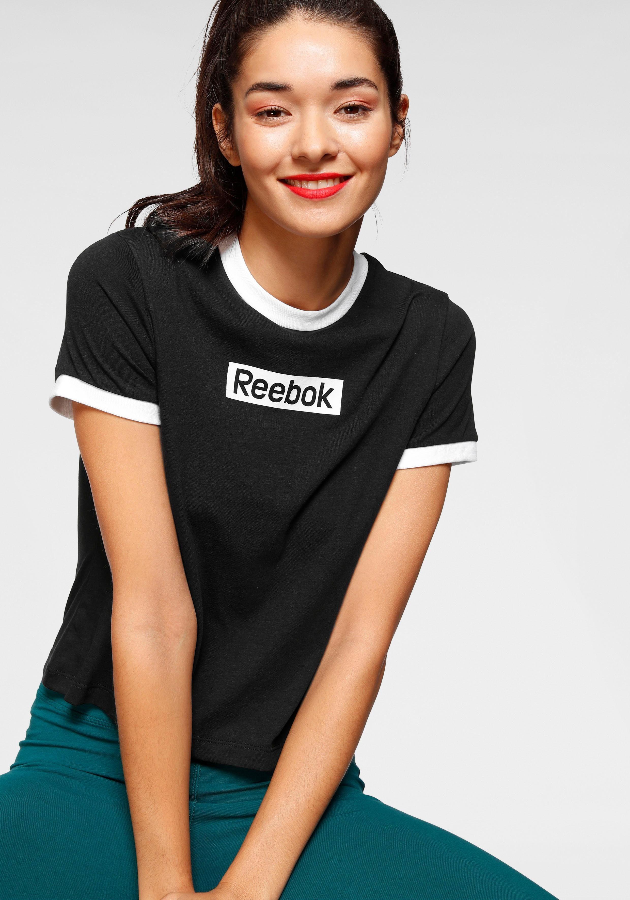 Reebok T-Shirt TE Linear Logo Slim schwarz Damen T-Shirts Shirts Sweatshirts