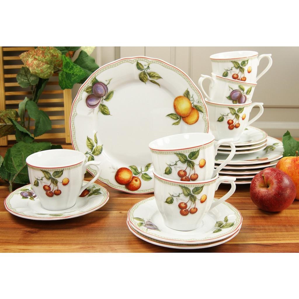 CreaTable Kaffeeservice »Flora Orchard«, (Set, 18 tlg.), Mikrowellengeeignet
