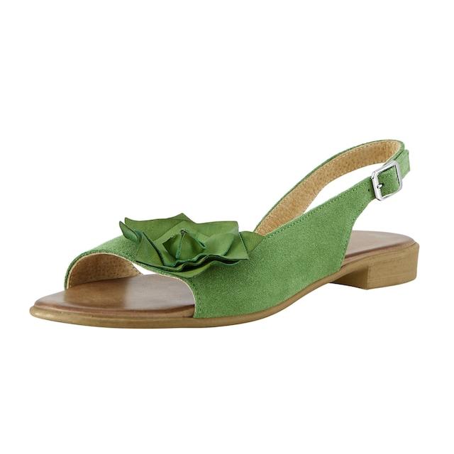 Sandalette mit großer Bllütenapplikation