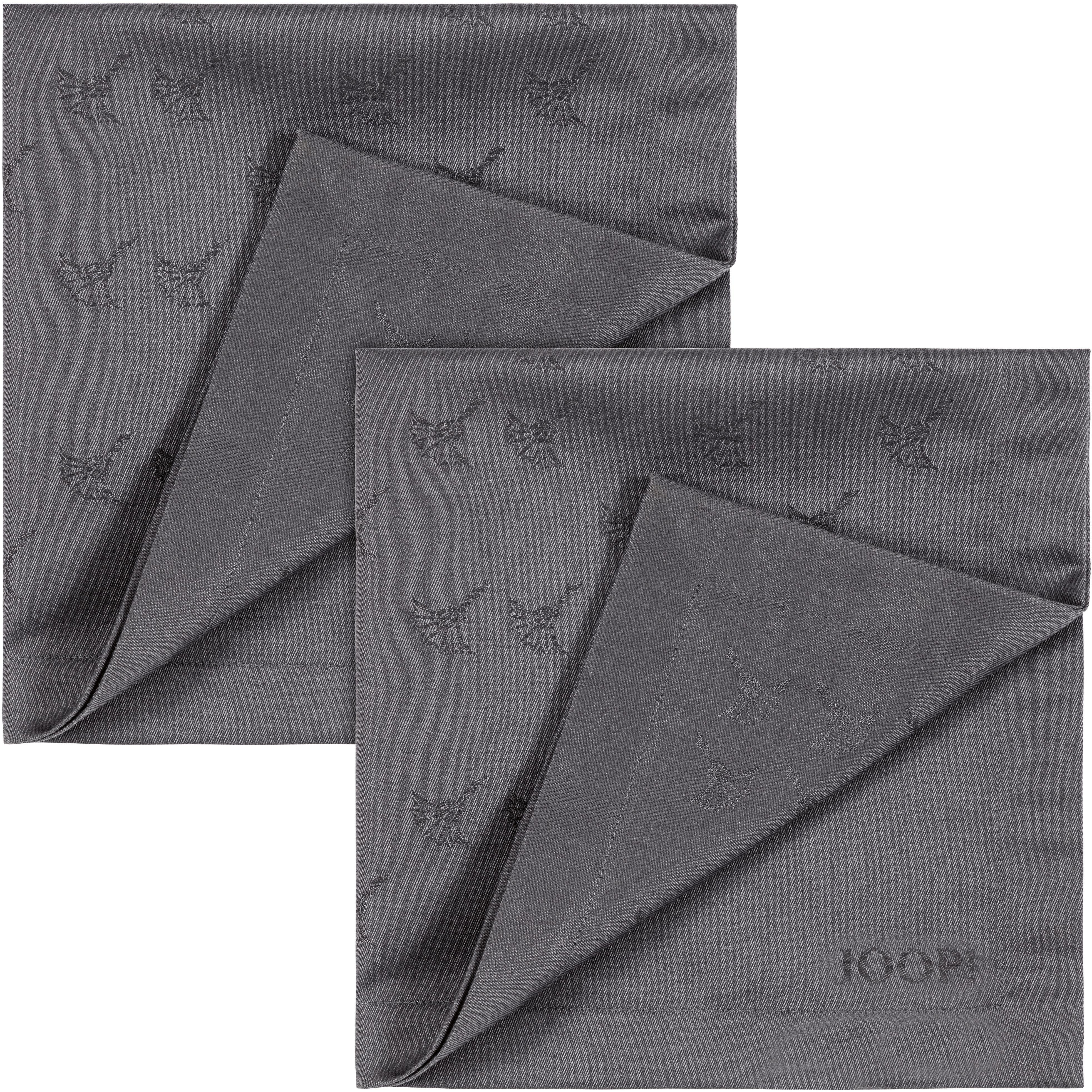 Joop! Joop Stoffserviette FADED CORNFLOWER, (Set, 2 St.), Aus Jacquard-Gewebe gerfertigt mit Kornblumen-Verlauf grau Stoffservietten Tischwäsche