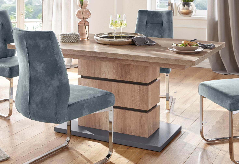 Homexperts Säulen-Esstisch mit Auszugsfunktion Breite 140 oder 160 cm