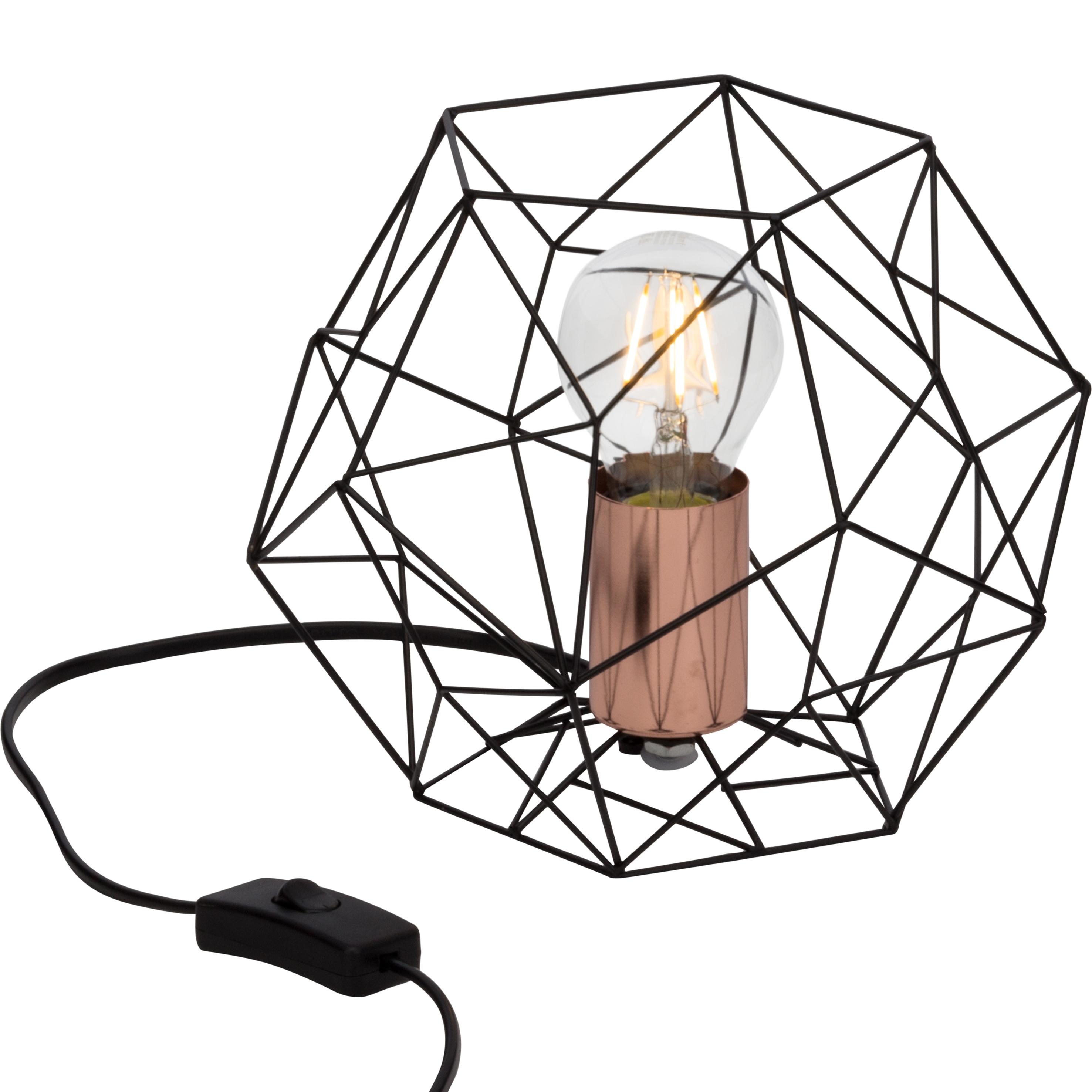 Brilliant Leuchten Synergy Tischleuchte schwarz/kupfer