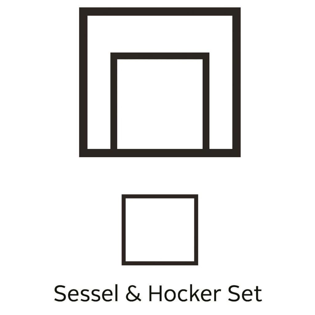 Home affaire Sessel »Ginger«, mit Hocker im Set, Keder, Federkern