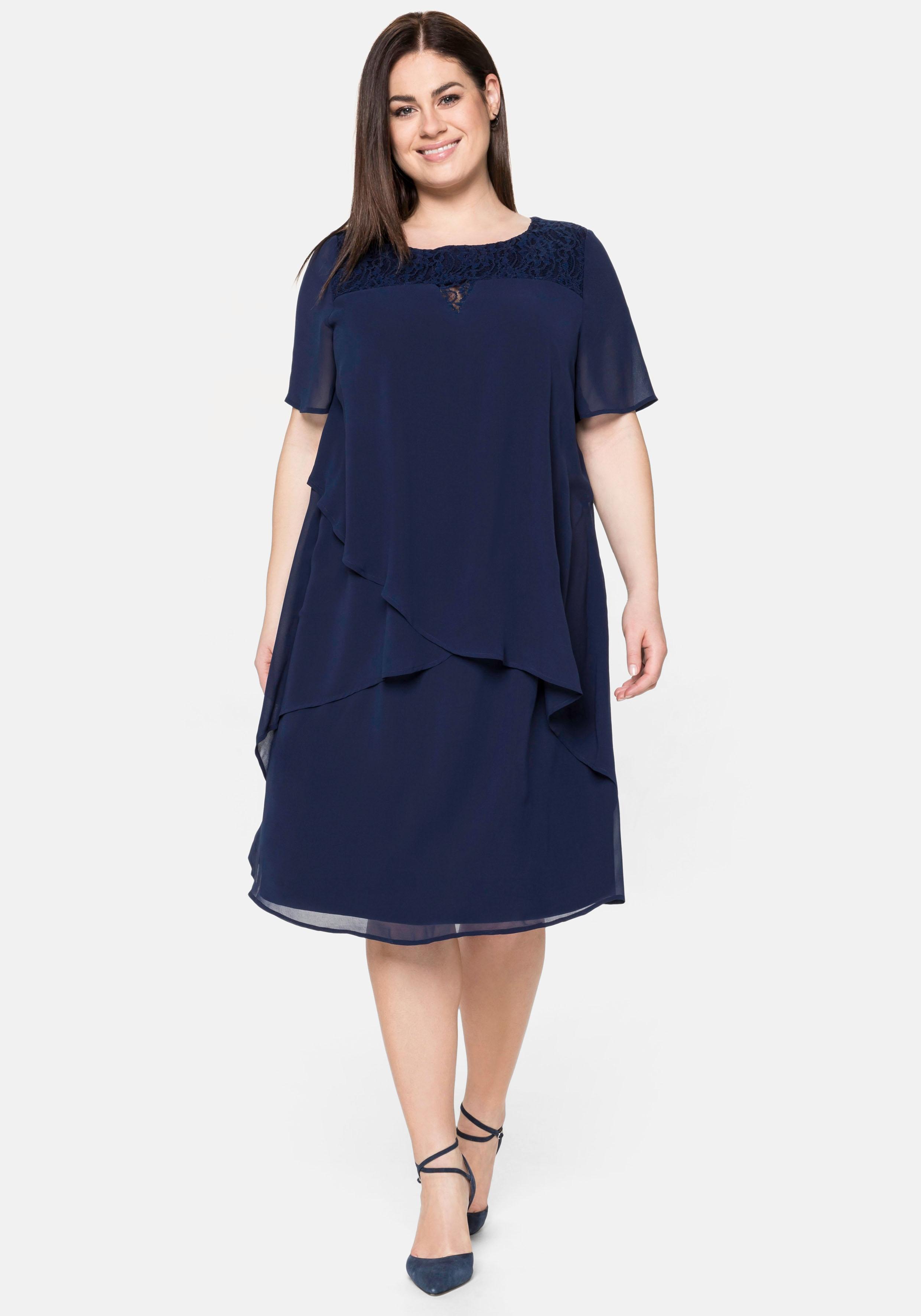 sheego -  Abendkleid, mit asymetrischen Volants