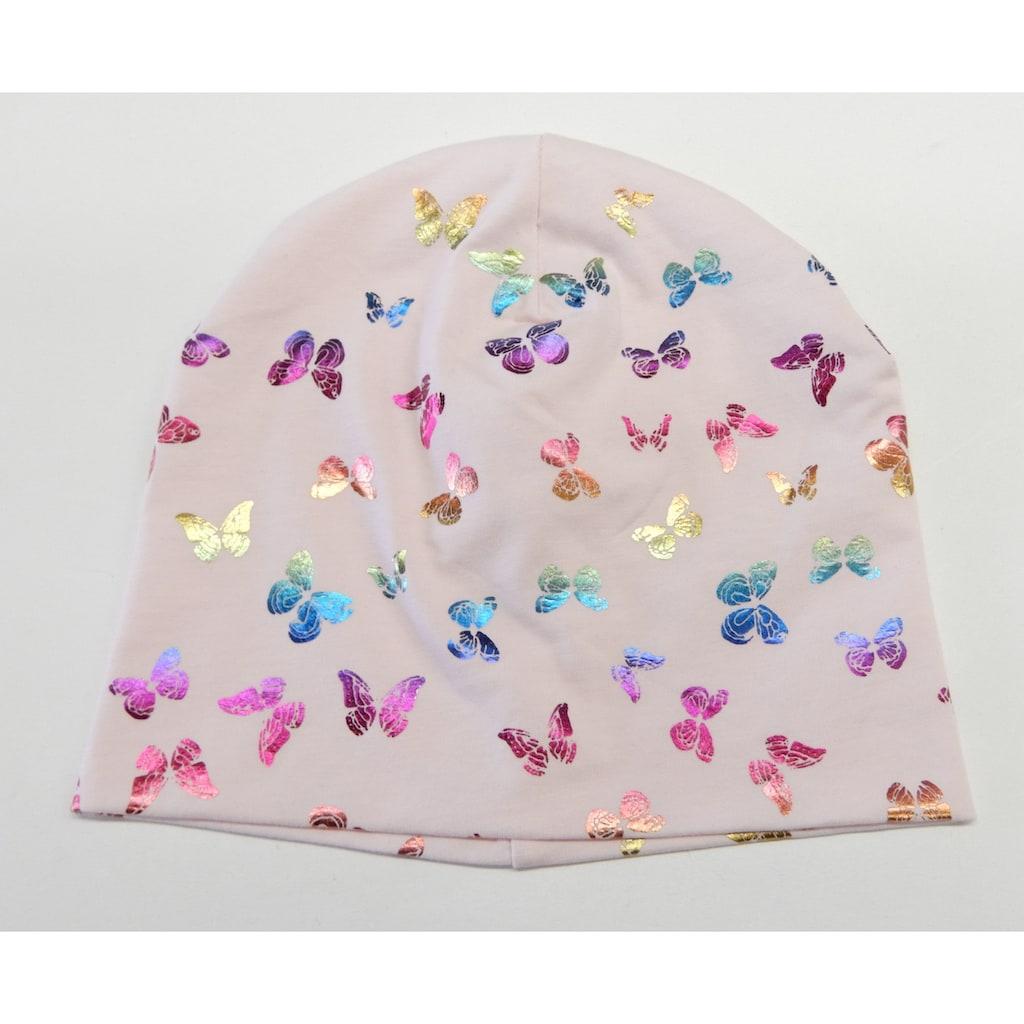 Chaplino Beanie, mit Schmetterlingsdruck in Regenbogenfarben