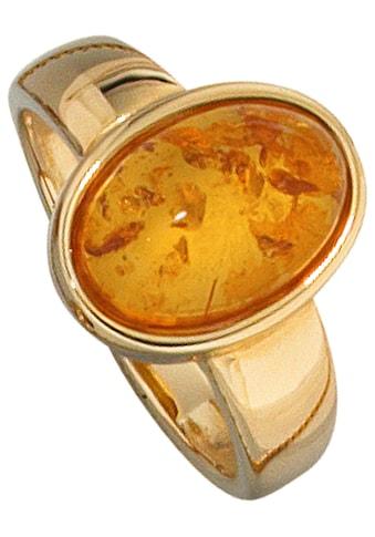 JOBO Goldring, 585 Gold mit Bernstein kaufen