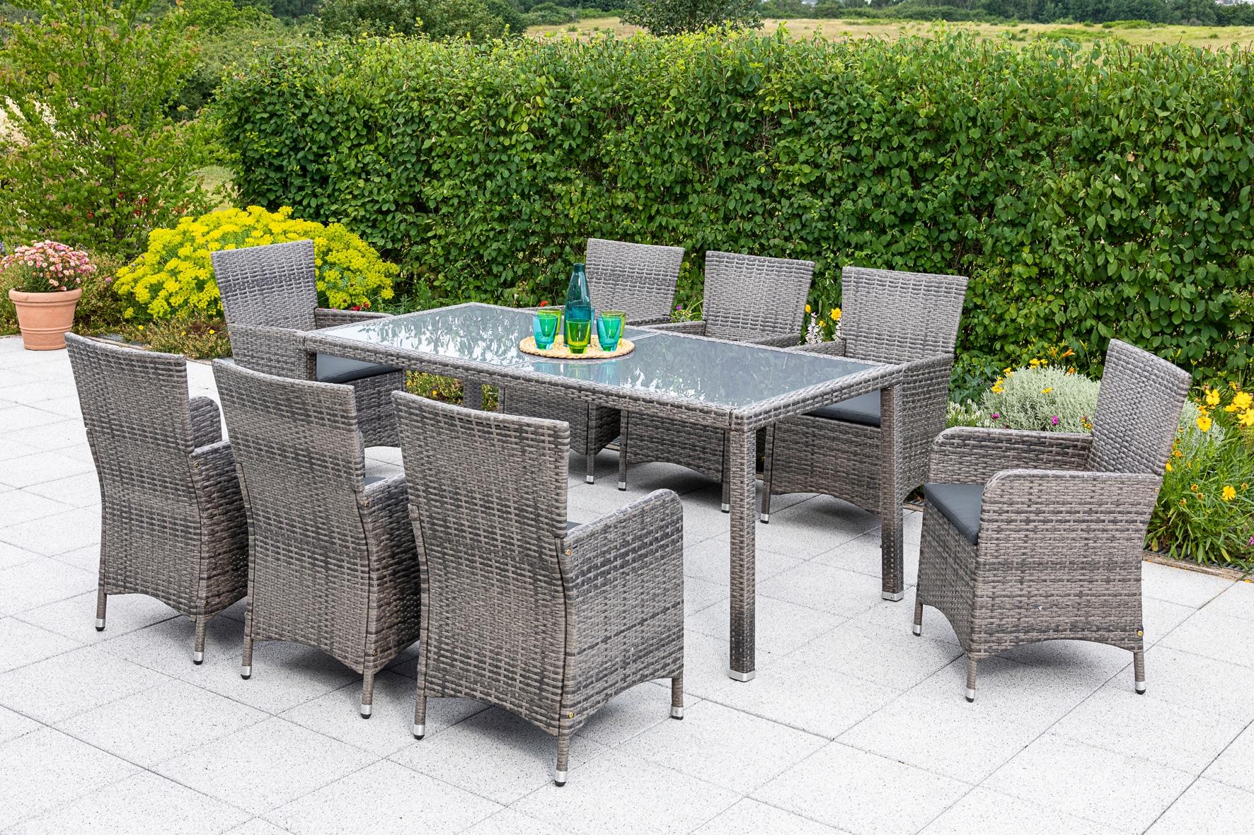 MERXX Diningset Lipari 17-tlg 8x Sessel Tisch 185x90 cm Polyrattan