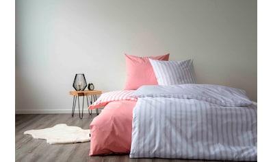 SETEX Wendebettwäsche »Baumwoll Streifen«, in tollen Unifarben und gestreift kaufen