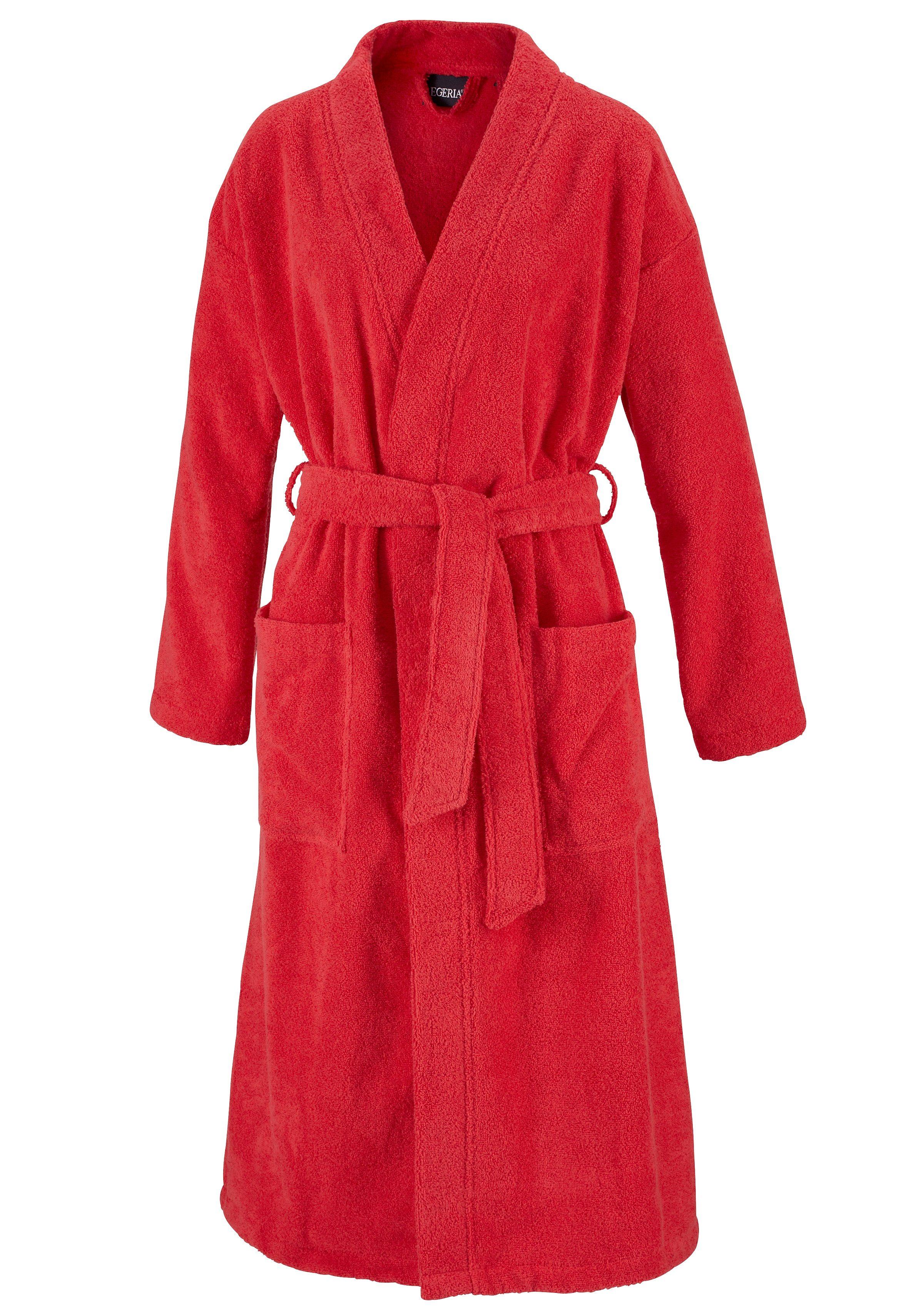 Unisex-Bademantel, Egeria, »Topas«, in Kimonoform   Bekleidung > Bademode > Bademäntel   Rot   Baumwolle   EGERIA