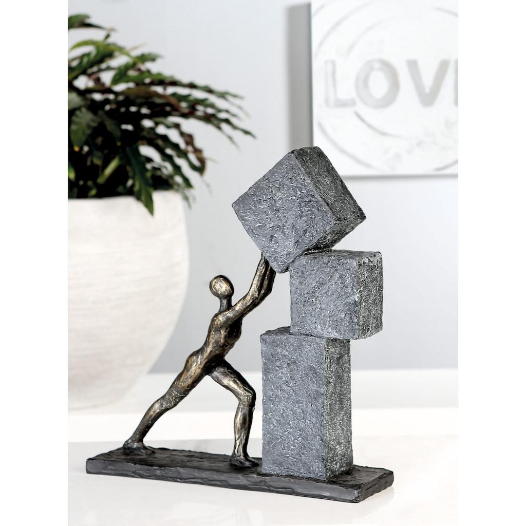 Casablanca by Gilde Dekofigur »Skulptur Stacking, bronzefarben/grau«, Dekoobjekt, Höhe 31, mit Spruchanhänger, Wohnzimmer