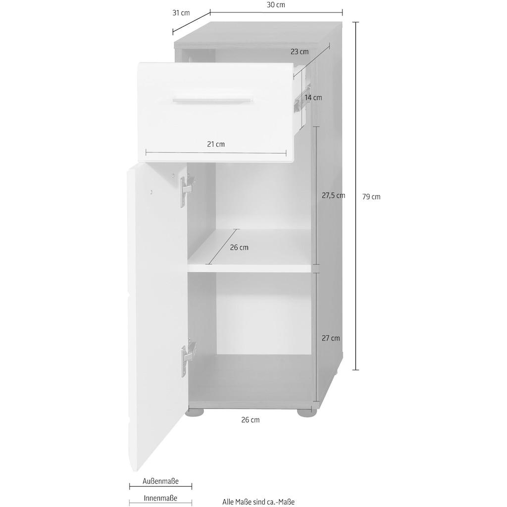 trendteam Unterschrank »Skin«, Höhe 79 cm, Badezimmerschrank mit Fronten in Hochglanz- oder Holzoptik, mit Schubkasten