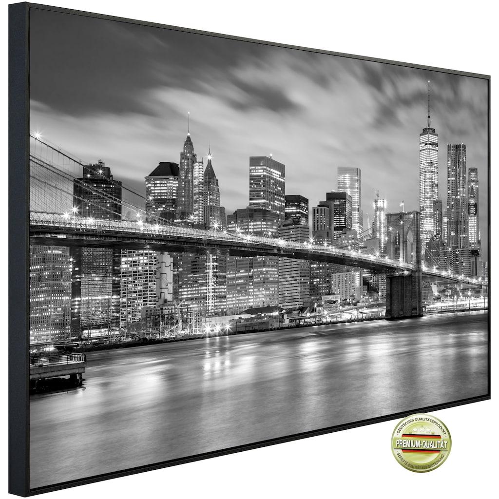 Papermoon Infrarotheizung »EcoHeat - Brooklyn Brücke«, Aluminium, 900 W, 74 x 120 cm, mit Rahmen
