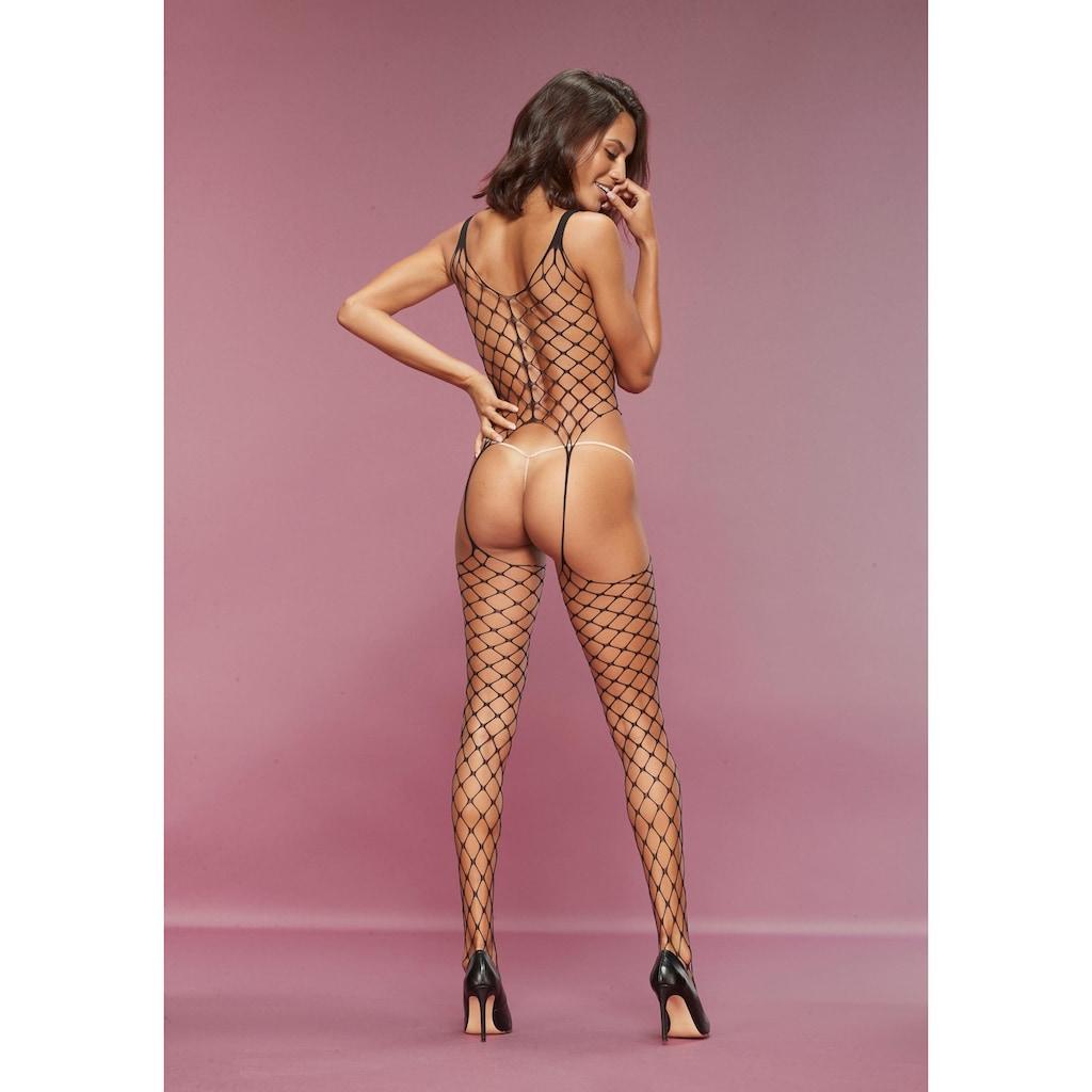 petite fleur gold Bodystocking, aus Maxi-Netz mit Zierschleifen