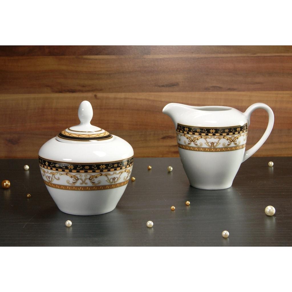 CreaTable Milch- und Zuckerset »Majestosa«, (Set, 2 tlg.), Dekor schwarz abgesetzt