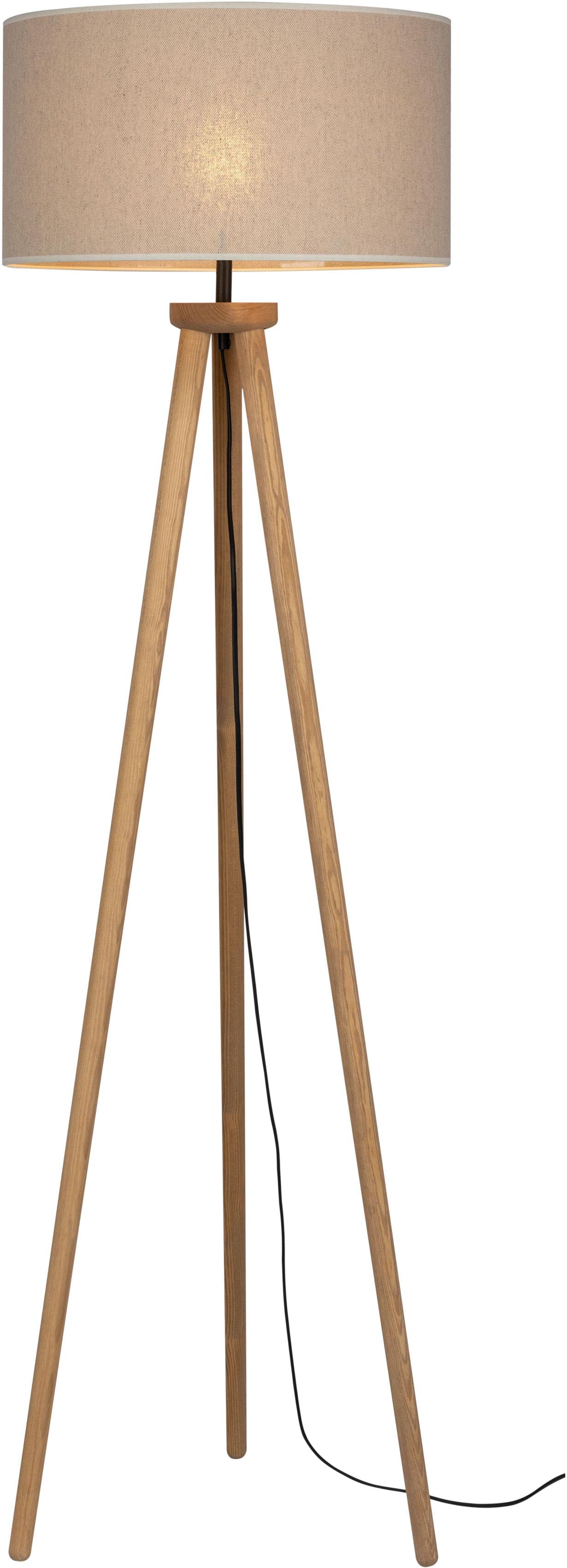 OTTO products Stehlampe Emmo, E27, Stehleuchte mit massivem Dreibein aus Kiefernholz, Naturprodukt mit FSC-Zertifikat, hochwertiger Textilschirm, Made in Europe