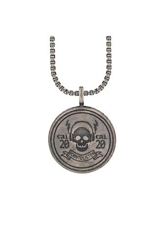 CAÏ Kette mit Anhänger »925/- Silber matt oxidiert Rock Music Skull Wappen« kaufen