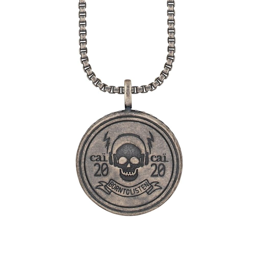 CAÏ Kette mit Anhänger »925/- Silber matt oxidiert Rock Music Skull Wappen«
