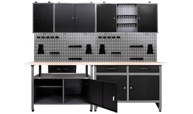 ONDIS24 Werkstatt-Set, 2x Werkbank, 2x Werkzeugwand, 3x Hängeschrank kaufen