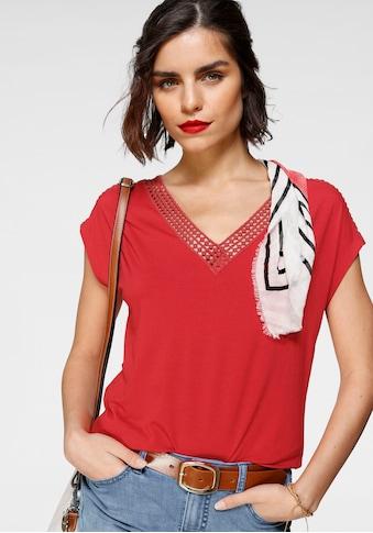 Tamaris Kurzarmshirt, mit Spitzenausschnitt - NEUE KOLLEKTION kaufen