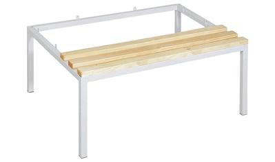 Sitzbank, (1 St.), 900 mm breit, Gestell aus Vierkantrohr, lichtgrau RAL 7035 kaufen