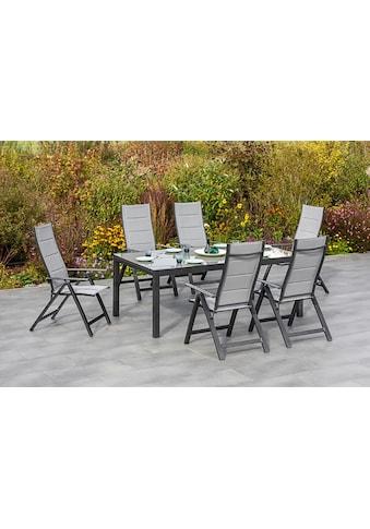 MERXX Gartenmöbelset »Florenz«, (7 tlg.), 6 Klappsessel mit ausziehbarem Tisch kaufen