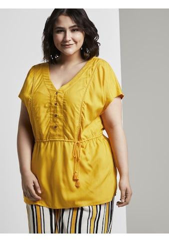 TOM TAILOR MY TRUE ME Kurzarmbluse »Curvy-Fließende Bluse mit Quasten-Details« kaufen